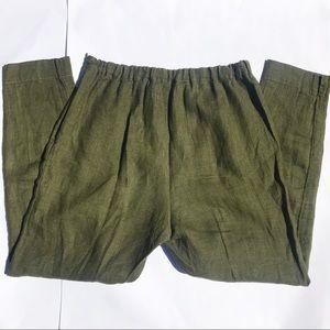 Fog Linen Works Olive 100% Linen Pants